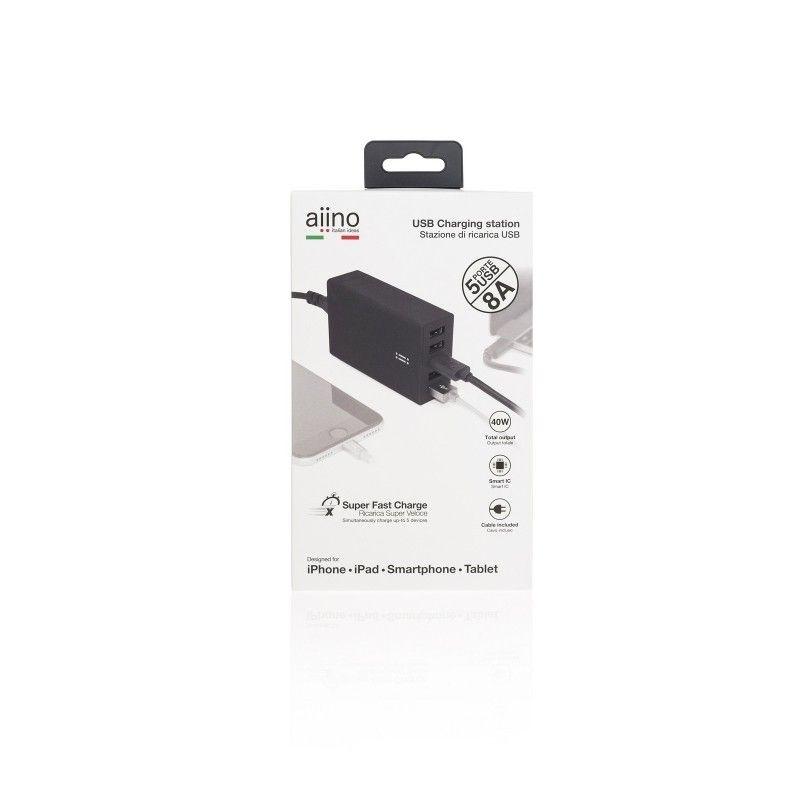 Carregador de secretária 5 ligações USB 8A - Preto