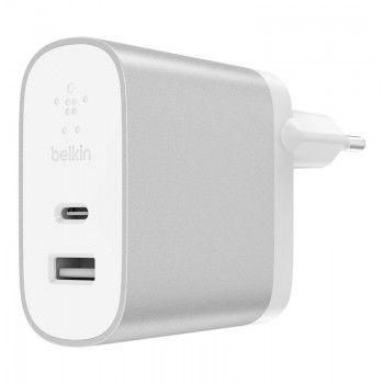 Carregador de parede Belkin USB-C e USB-A - Prateado