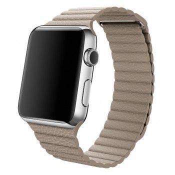 Bracelete Loop em pele para Apple Watch 42 mm média - Cinzento-pedra