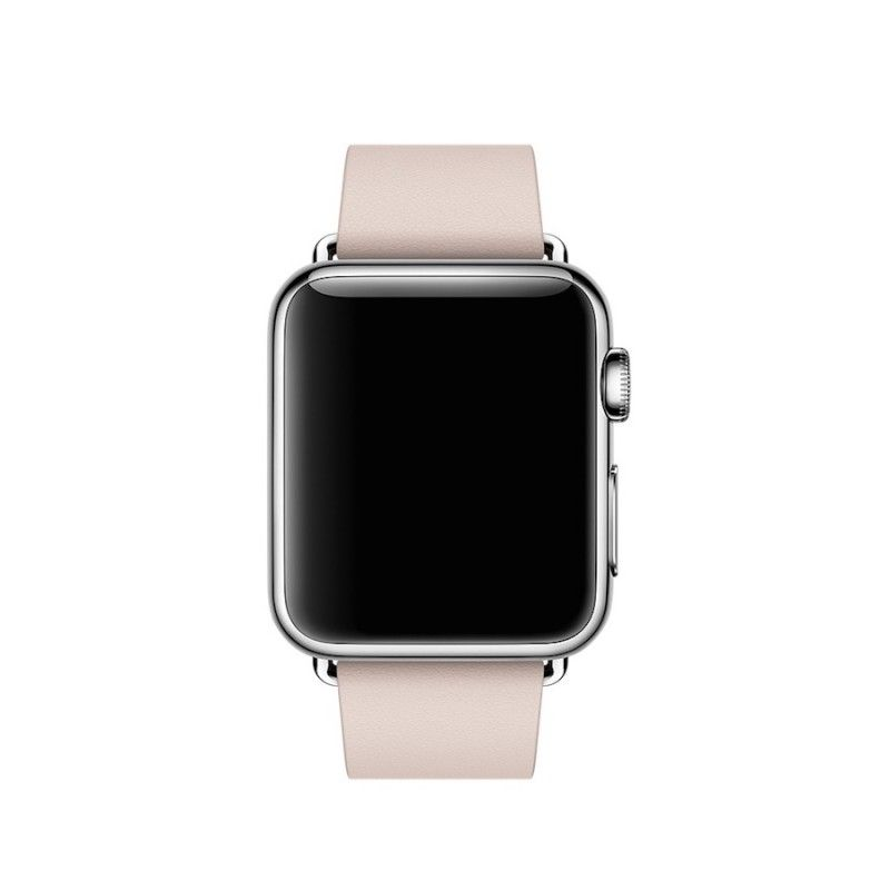 Bracelete para Apple Watch em pele e fivela moderna (40/38 mm) média - Rosa
