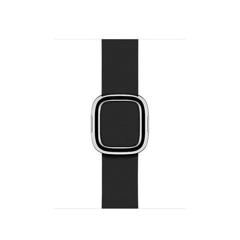 Bracelete em pele com fivela moderna média (40/38 mm) - Preto