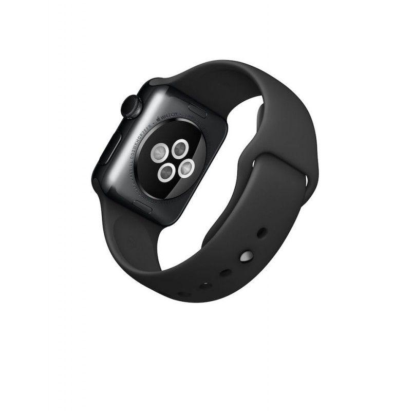 Apple Watch 38 mm, aço cinzento, bracelete desportiva preta