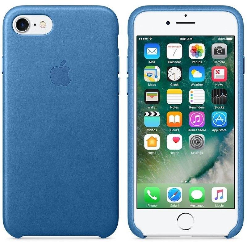 Capa em pele para iPhone 7 - Azul Mar