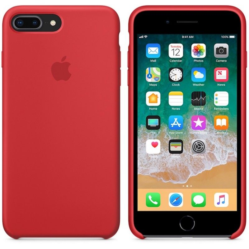 Capa em silicone para iPhone 8 Plus / 7 Plus - Vermelho
