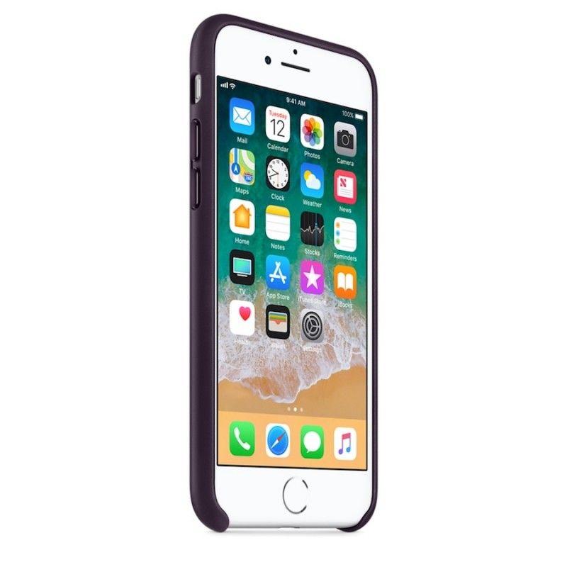 Capa em pele para iPhone 8 / 7 - Beringela-escuro