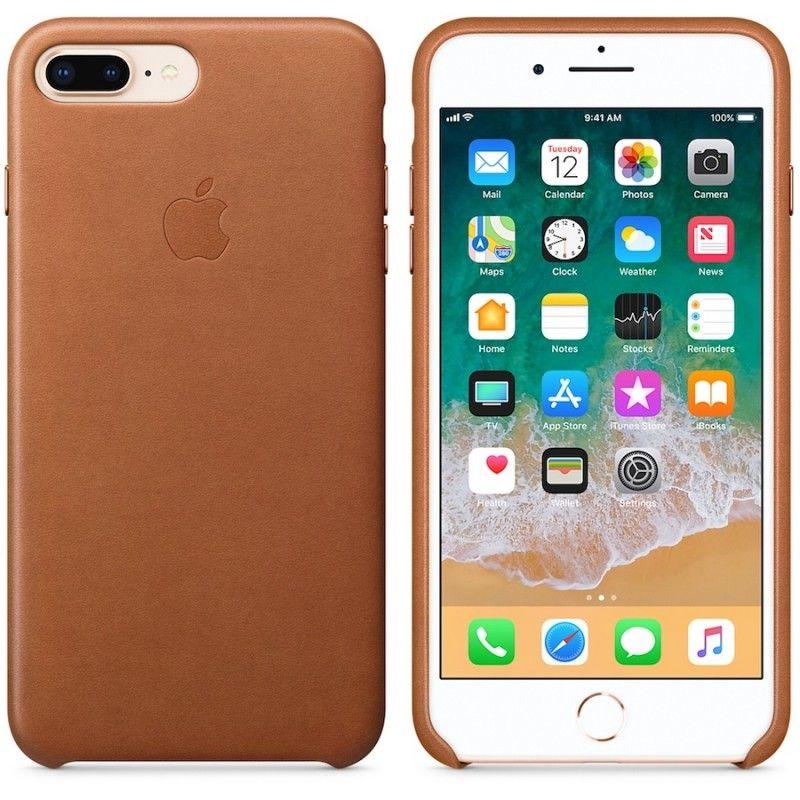Capa em pele para iPhone 8 Plus / 7 Plus - Castanho-sela
