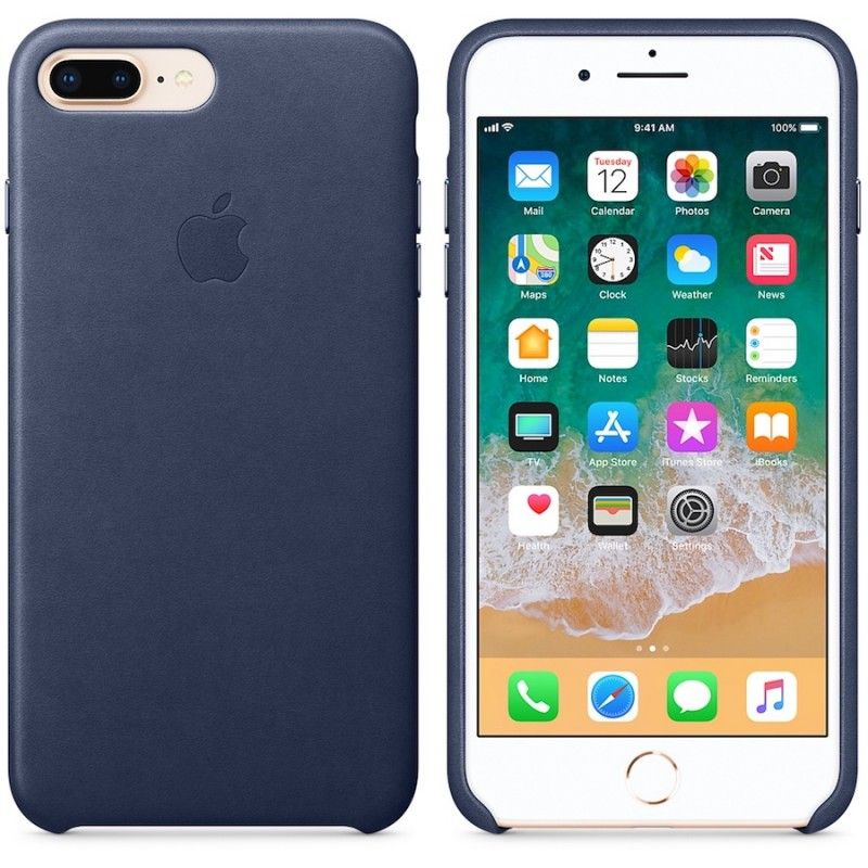 Capa em pele para iPhone 8 Plus / 7 Plus - Azul meia-noite