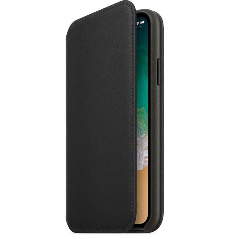 Capa Folio em pele para iPhone X - Preto