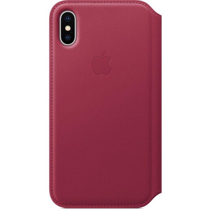 Capa Folio em pele para iPhone X - Vermelho-baga