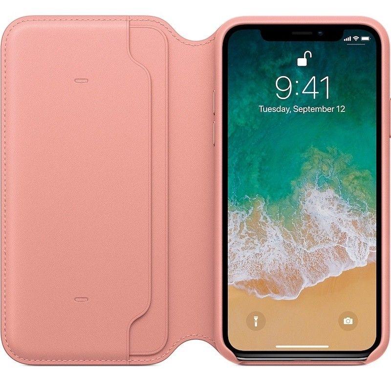 Capa Folio em pele para iPhone X - Rosa-pálido