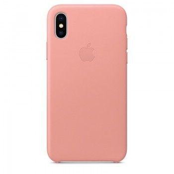 Capa em pele para iPhone X - Rosa-pálido
