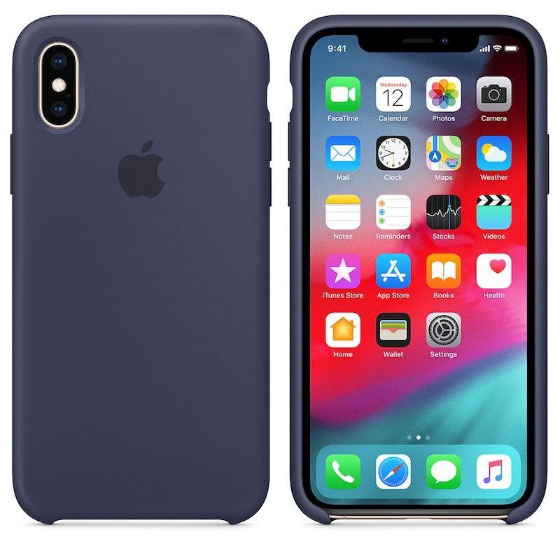 Capa para iPhone XS em silicone - Azul meia-noite