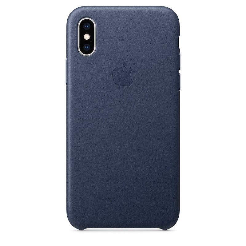 Capa para iPhone XS em pele - Azul meia-noite
