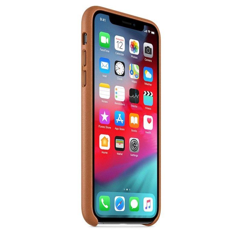 Capa para iPhone XS em pele - Castanho-sela
