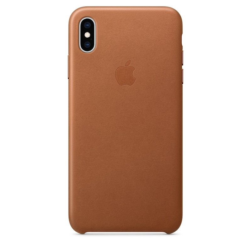 Capa para iPhone XS Max em pele - Castanho-sela
