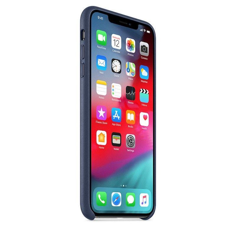 Capa para iPhone XS Max em pele - Azul meia-noite