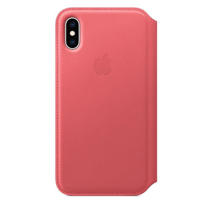 Capa Folio em pele para iPhone XS - Rosa-peónia