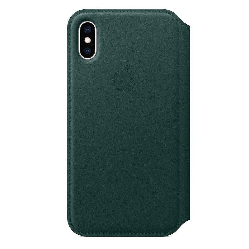Capa Folio em pele para iPhone XS - Verde-floresta