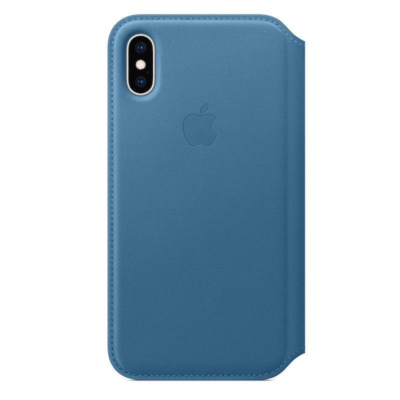 Capa Folio em pele para iPhone XS - Azul Cap Cod