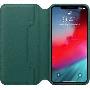 Capa Folio em pele para iPhone XS Max - Verde-floresta