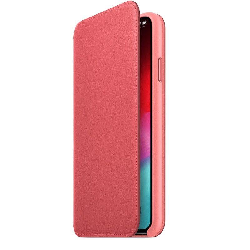 Capa Folio em pele para iPhone XS Max - Rosa-peónia