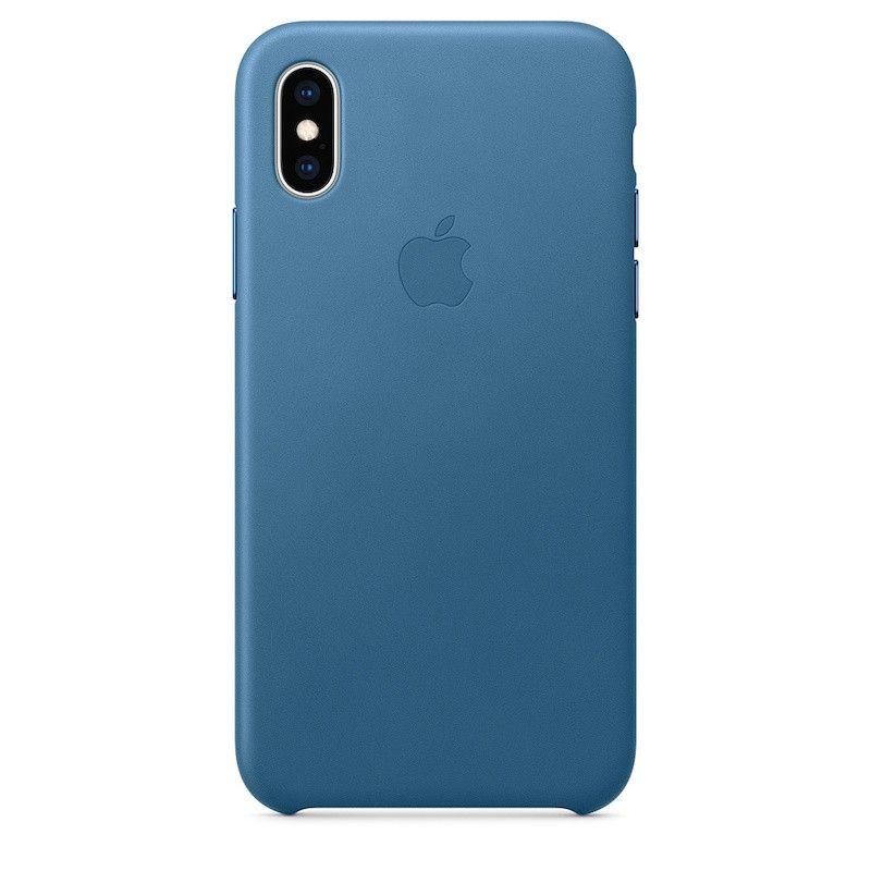 Capa para iPhone XS em pele - Azul Cap Cod