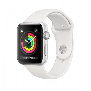 Apple Watch 3 GPS, 42mm aluminio prateado bracelete branco