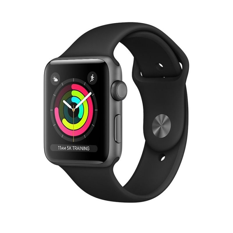 Apple Watch 3 GPS, 42 mm aluminio cinzento, bracelete preta