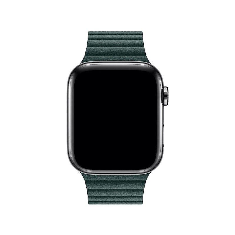 Bracelete Loop em pele para Apple Watch (44/42 mm) médio - Verde-floresta
