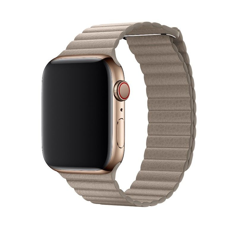 Bracelete Loop em pele para Apple Watch (44/42 mm) média - Cinzento-pedra