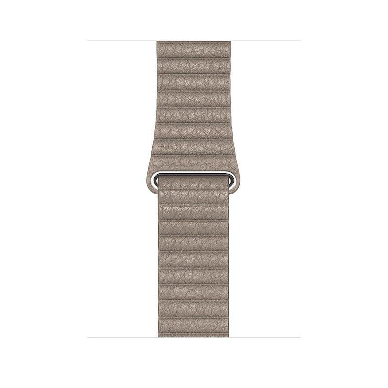 Bracelete Loop em pele para Apple Watch (44/42 mm) grande - Cinzento-pedra