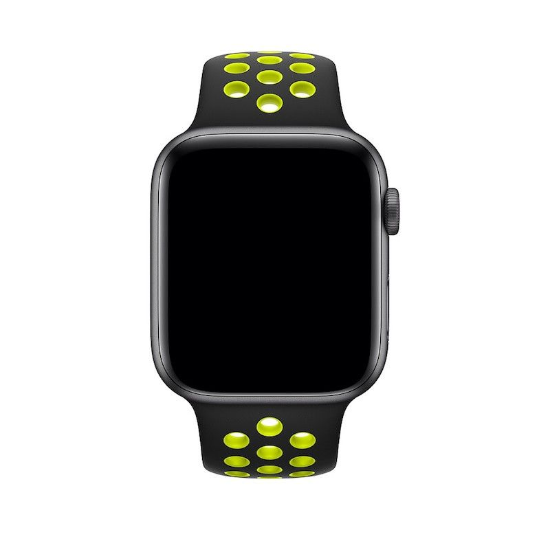 Bracelete desportiva Nike para Apple Watch (44/42 mm) S/M & M/L - Preto/Volt