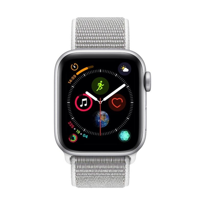 Apple Watch 4 GPS, 40 mm - Prateado com bracelete desportiva Loop