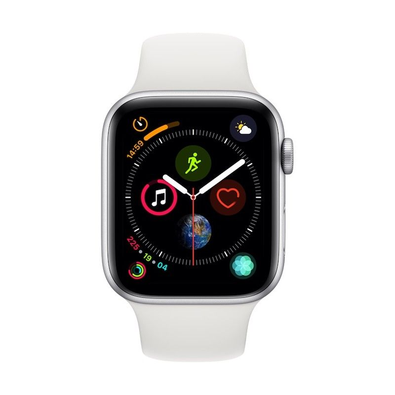 Apple Watch 4 GPS, 44 mm - Prateado com bracelete desportiva