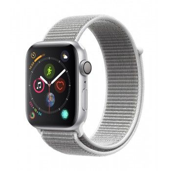 Apple Watch 4 GPS, 44 mm - Prateado com bracelete desportiva Loop