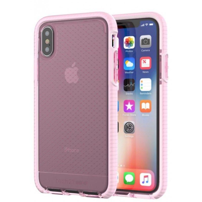 Capa iPhone X Tech21 Evo Check - Rosa claro/Branco