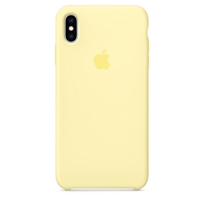 Capa para iPhone XS Max em silicone - Amarelo-suave