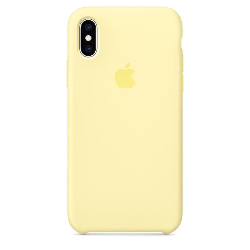 Capa para iPhone XS em silicone - Amarelo-suave