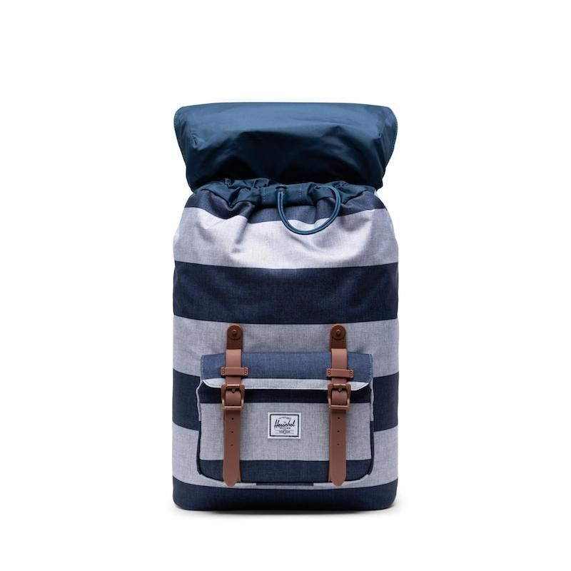 Mochila Herschel Little America Mid Vol. (17L) - Border Stripe/Saddle Brown