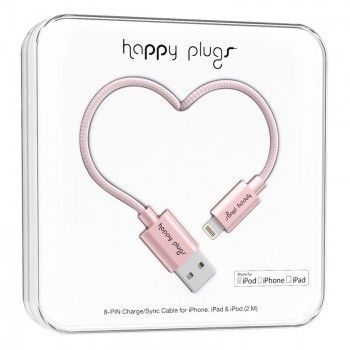 Cabo Happy Plugs Lightning para USB (2.0m) - Rosa Dourado