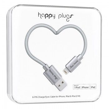 Cabo Happy Plugs Lightning para USB (2.0m) - Cinzento Sideral
