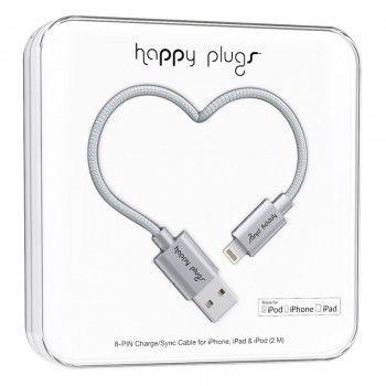 Cabo Happy Plugs Lightning para USB (2.0m) - Cinzento Sideral