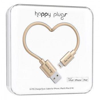 Cabo Happy Plugs Lightning para USB (2.0m) - Dourado matte