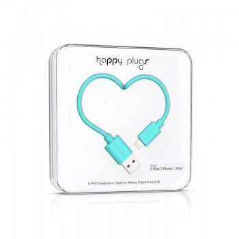Cabo Happy Plugs Lightning para USB (2.0m) - Turquesa