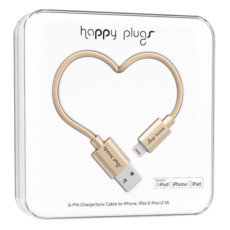 Cabo Happy Plugs Lightning para USB (2.0m) - Dourado matte
