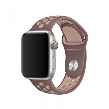 Bracelete desportiva Nike para Apple Watch (40/38 mm) S/M & M/L - Malva-névoa/bege-suave
