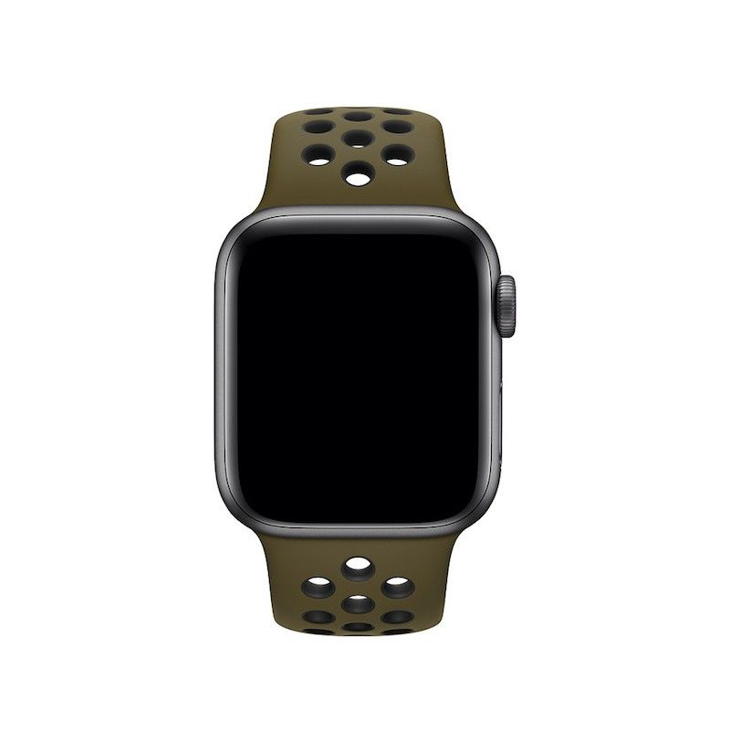 Bracelete desportiva Nike para Apple Watch (40/38 mm) S/M & M/L - Verde-oliva/preto