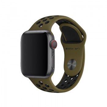 Bracelete desportiva Nike para Apple Watch (40/38 mm) S/M & M/L - Verde-oliva/preto