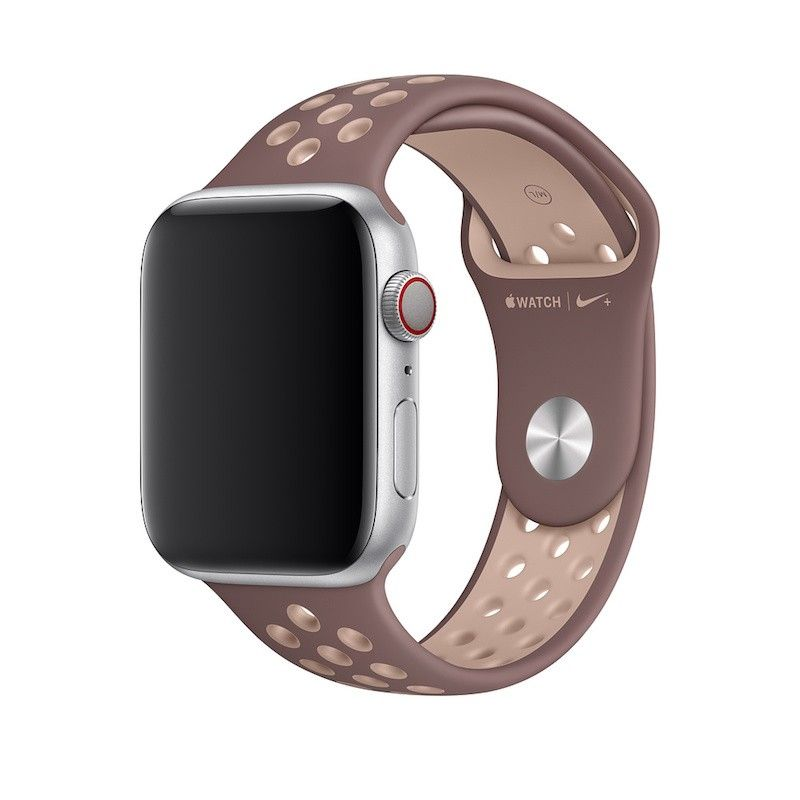 Bracelete desportiva Nike para Apple Watch (44/42 mm) S/M & M/L - Malva-névoa/bege-suave