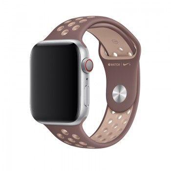 Bracelete desportiva Nike para Apple Watch (44/42 mm) S/M & M/L - Malva-névoa/bege-suave